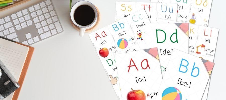 Карточки: немецкий алфавит для распечатки